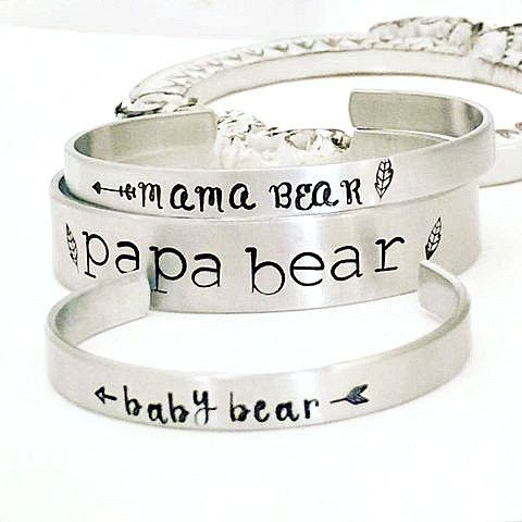 Mama Bear Bracelet - Papa Bear - Baby Bear - Hand Stamped Bracelet - Hand Stamped Baby Bracelet - Baby Cuff Bracelet - Baby Shower Gift