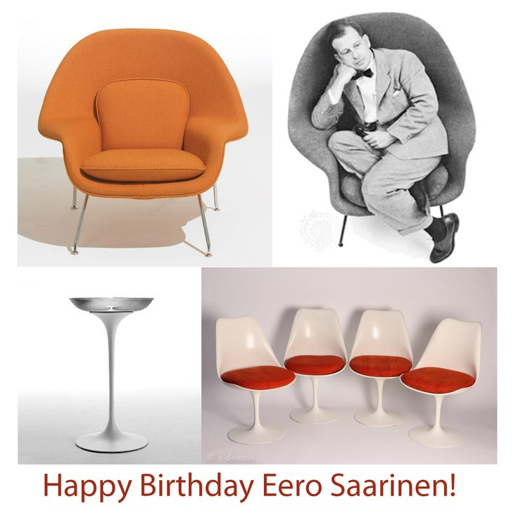 Today its  EeroSaarinen birthday  Famous and amazing Finnish architect and  interior designer  191056 best  Design   Eero Saarinen  1910 1961  images on Pinterest  . Famous Architect Chairs. Home Design Ideas