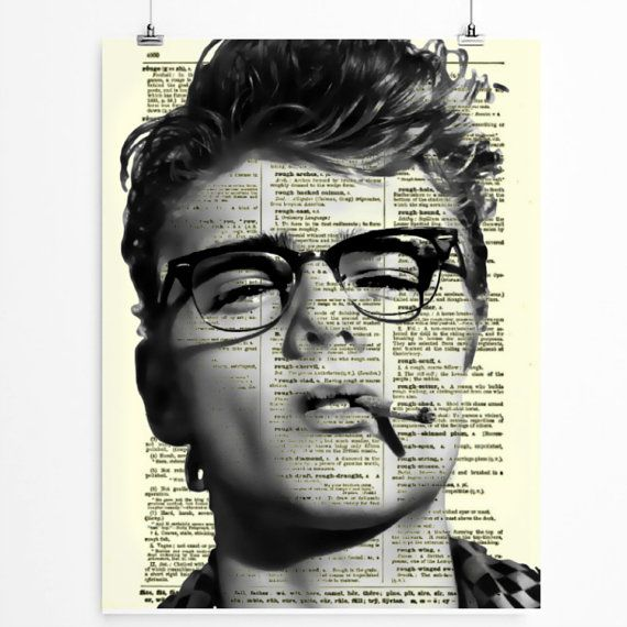 James Dean in Glasses on Upcycled 1800s dictionary page by reimaginationprints on Etsy, $10.00