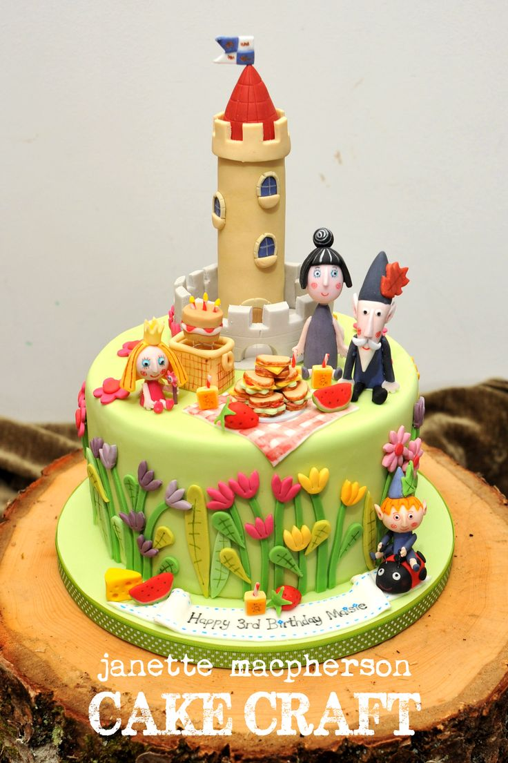 """Ben and Holly Little Kingdom Cake - 8"""" Ben and Holly birthday cake. All hand modelled in fondant"""