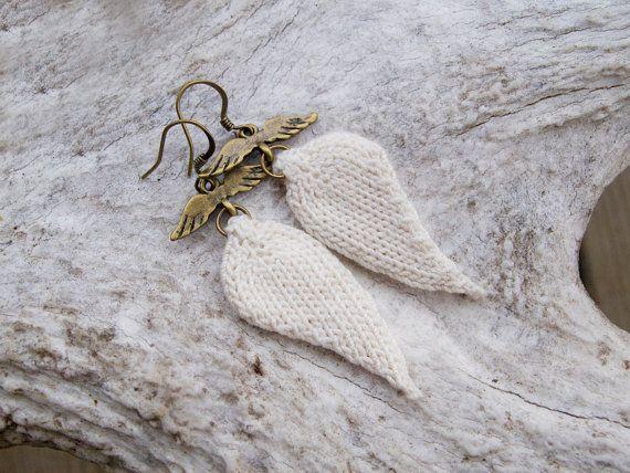 Angel Wing knitted earrings Angel Wings Pinterest