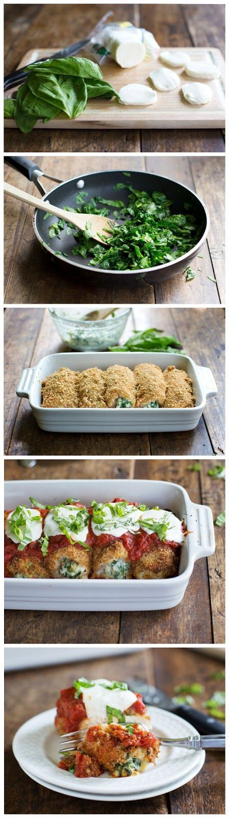 BAKED MOZZARELLA CHICKEN ROLLS ~ Easy to make and simply good; also easy to prep for company - this will play a role in our next big theme-party in May!(Baking Bread In Crockpot)