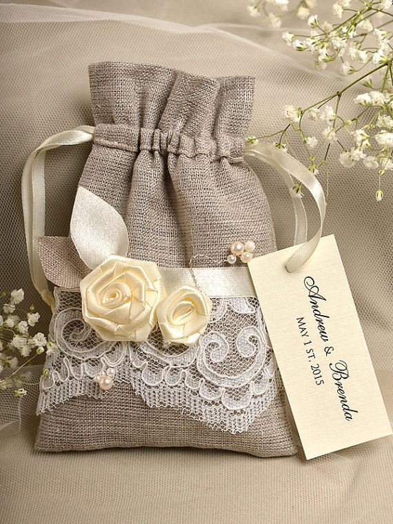 Natural Rustic Linen Wedding Favor Bag ,Lace Wedding Favor, County Style Favor Bags, Custom Tag on Etsy, $3.38 CAD