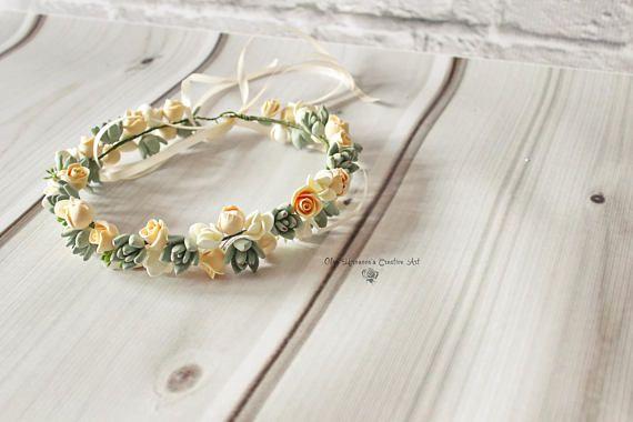 Wedding succulent headband Bridal head wreath with succulents