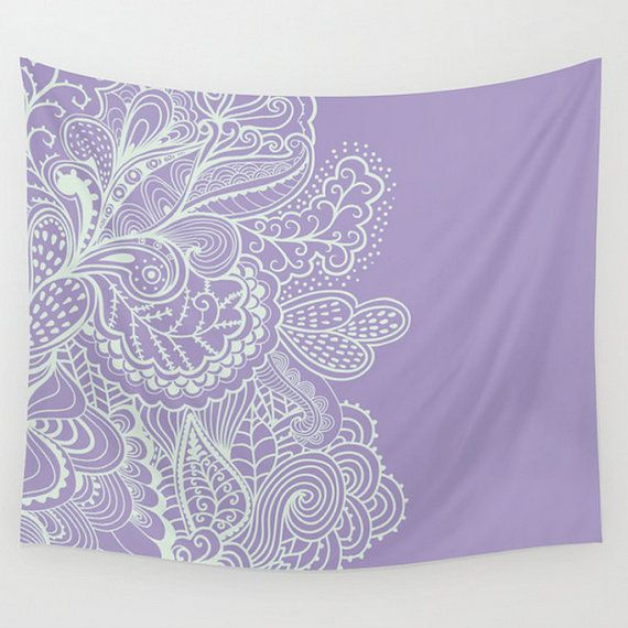 Wall Tapestry Purple Lilac Violet Lace Paisley by LoveThatTooMuch