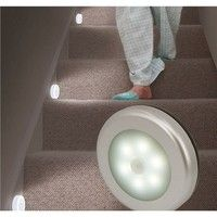 Wish   Cool Portable 6 LED Wireless Motion Sensor Night Light Battery-Powered with Sticker 3 Pack