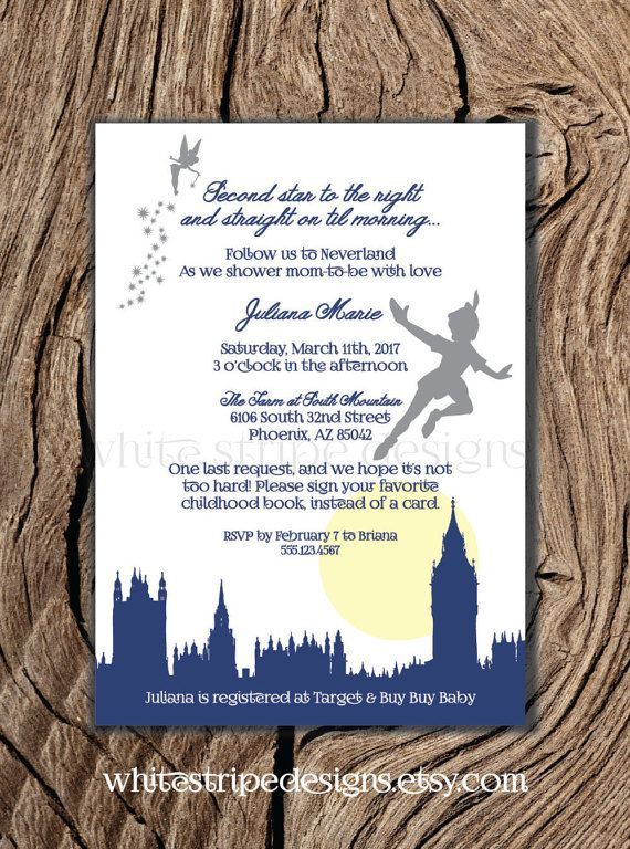 Printable Peter Pan Invitation for Baby Shower or Birthday Party, Neverland Invitation 5x7 - Instant Download