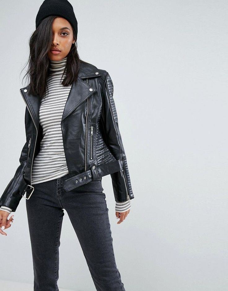 Buy it now. Barneys Leather Biker Jacket - Black. Jacket by Barney's Originals, Smooth leather, Notch lapels, Zip fastening, Stitched biker panels, Zipped cuffs, Functional pockets, Buckle hem, Regular fit - true to size, Wipe with a damp cloth, 100% Real Leather, Our model wears a UK 8/EU 36/US 4 and is 173cm/5'8 tall. , chaquetadecuero, polipiel, biker, ante, antelina, chupa, decuero, leather, suede, suedette, fauxleather, chaquetadecuero, lederjacke, chaquetadecuero, vesteencuir…