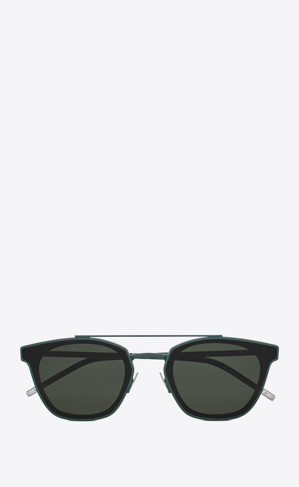 6b60c3dea1e SAINT LAURENT CLASSIC E 28 sunglasses in green metal and black acetate with green  lenses a_V4
