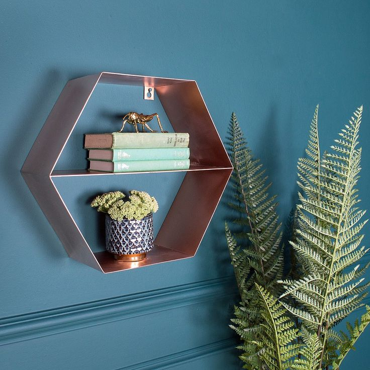 Copper Hexagonal Wall Shelf