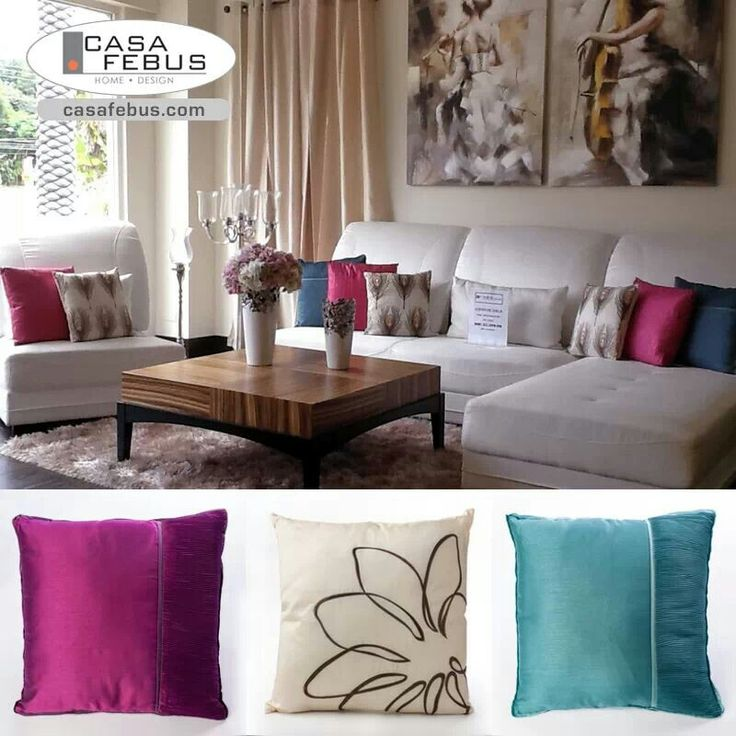 Bright Colorful Pillows Add Pop.of Color To Living Room
