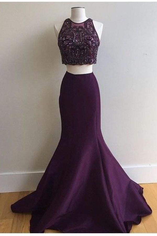 03411e69a0c6 Plum 2 Pieces Mermaid Long Satin Beading Pretty Prom Dresses For Teens Z0286