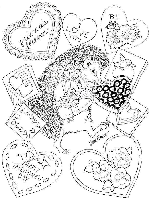 Hedgehog Valentine Coloring Page