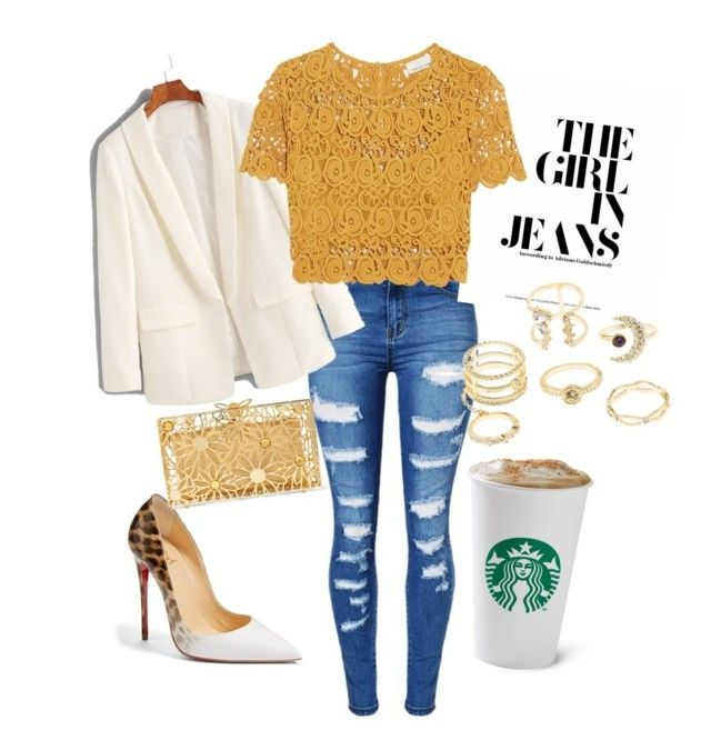 Walking on sunshine by tarynbassadien on Polyvore featuring polyvore fashion style Miguelina WithChic Christian Louboutin Charlotte Olympia Charlotte Russe clothing