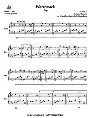 Partitura para Piano de Watermark de Enya. Piano sheet music for Watermark by Enya