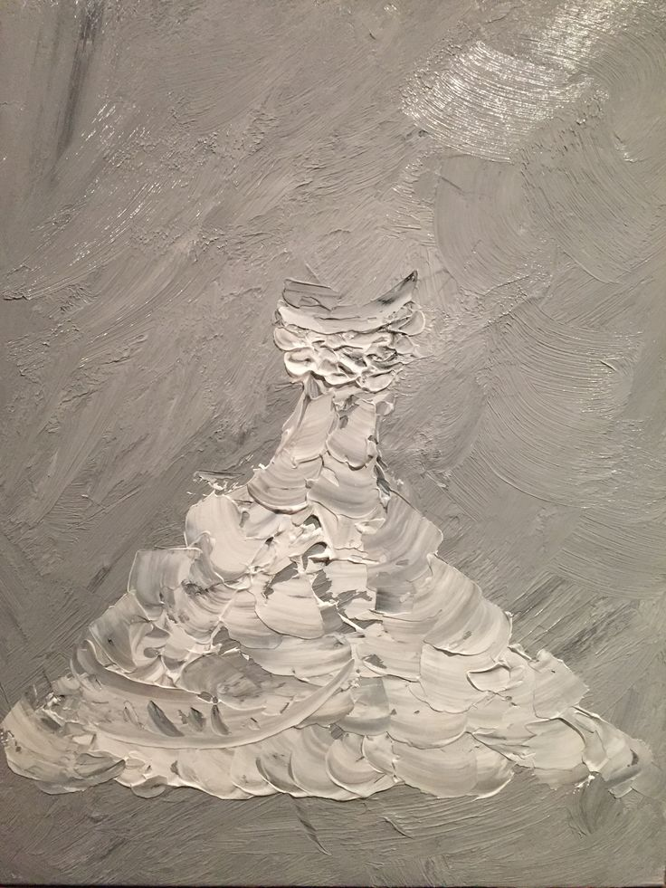 Wedding dress - Original acrylic painting done on canvas