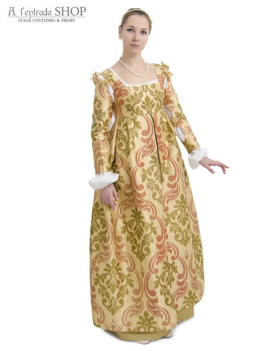 Renaissance dress Borgia style. Historical costume.  Medieval dress late 15th century women's dress Italian fashion.