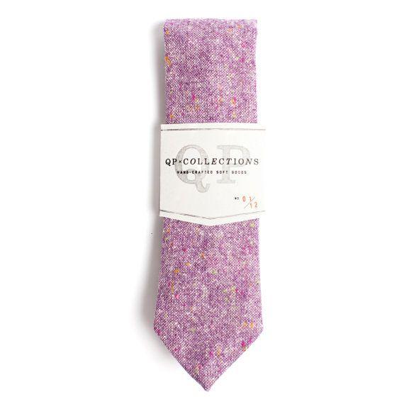 Lila wolle Tweed Skinny Tie  Hochzeit  Monogramm von qpcollections