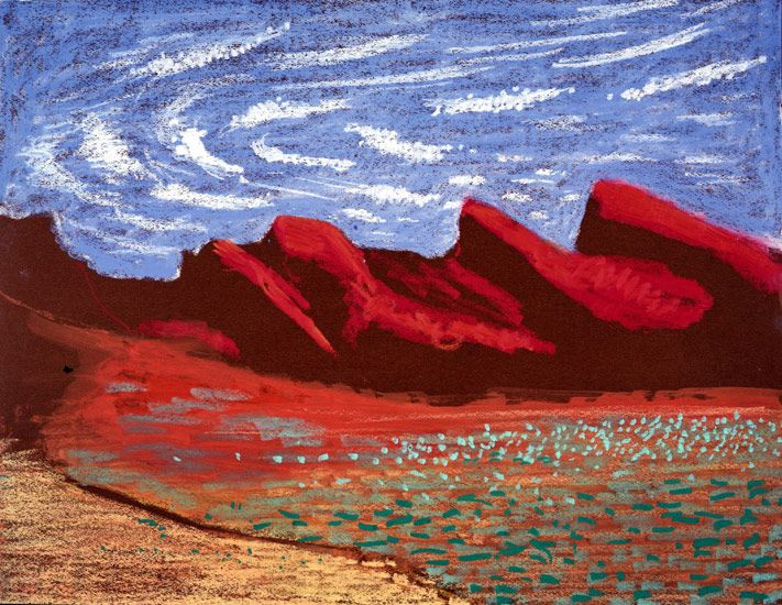 David Hockney Study of the Grand Canyon V, 1998 oil pastel on paper 19 3/4 x 25 1/2 in  (50.2 x 64.8 cm) Private collection