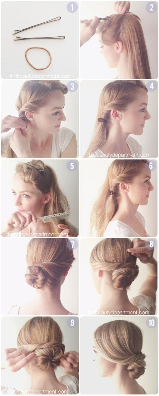 I love this chignon without the fascinator, since I don't really think I could pull that off here in MT.