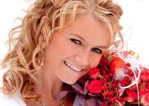 head shot with her gorgeous red bouquet: Red Bouquets, Gorgeous Red