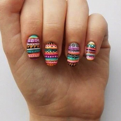 Aztec nail art- doing this for Hispanic Heritage month