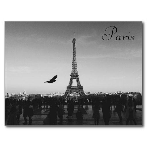 Eiffel Tower, Paris, France. Postcard. Black and White