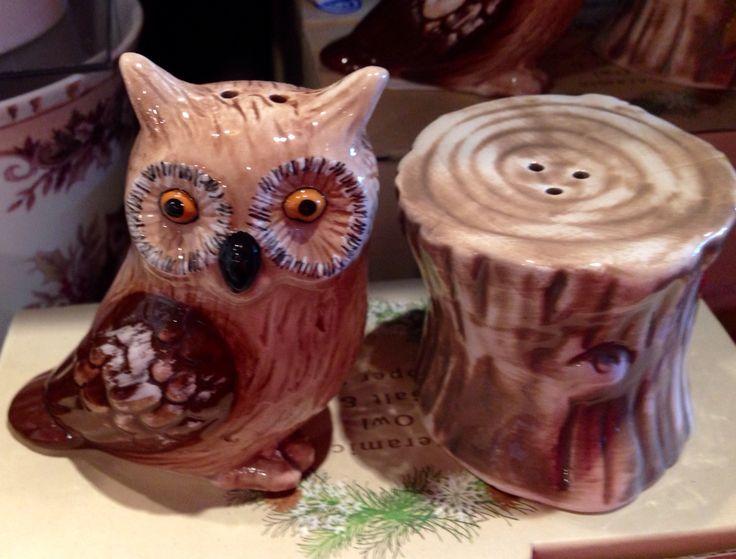 """Owl & Stump"" Salt & Pepper Shakers/Cracker Barrel Gift Shop"