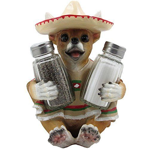 South of the Border Chihuahua Glass Salt and Pepper Shaker Set with Decorative Holder Figurine for Southwestern & Mexican Bar Sculptures and Statues As Kitchen Decor Spice Racks and Gifts for Pet or Dog Lovers by Generic, http://www.amazon.com/dp/B00OBBWGE2/ref=cm_sw_r_pi_dp_j983ub009KEVE