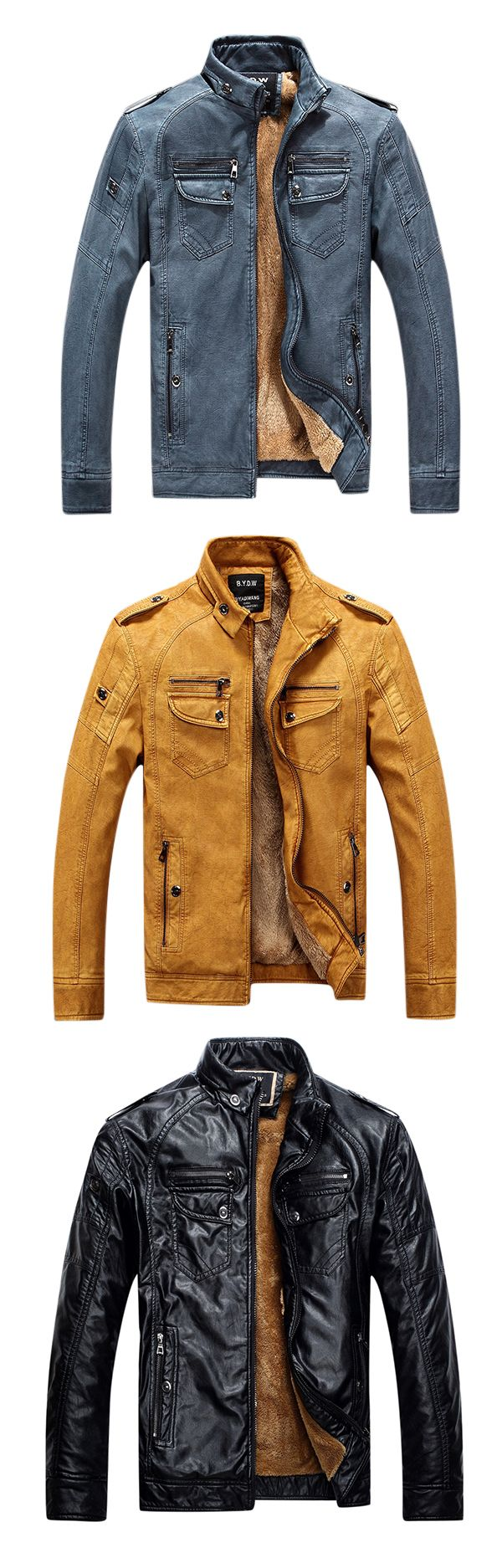 Outdoor Fleece Multi-Pocket Leather Jacket: Motorcycle