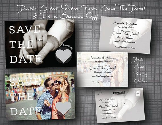 custom photo scratch off wedding save the date card. Black Bedroom Furniture Sets. Home Design Ideas