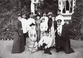 "Gathering of family and friends including Grand Duke Sergei Alexandrovich,Grand Duke Ludwig of Hesse and his children Victoria, Ernst, Elisabeth and Alix "" """