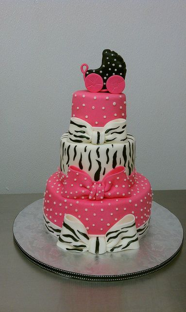pink, polkadots, zebra baby shower cake
