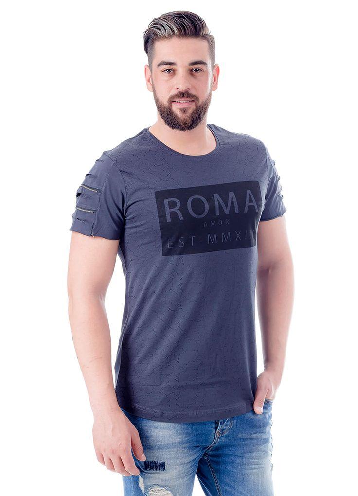 Modagen.com | Erkek Giyim, Erkeklere Özel Alışveriş Sitesi ~ Kol Detaylı Roma Baskılı Erkek Tişört