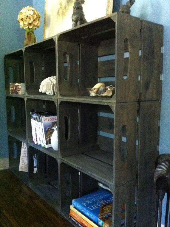 Custom listing 8 wooden crate bookshelf rustic by DesignedForUse, $232.00