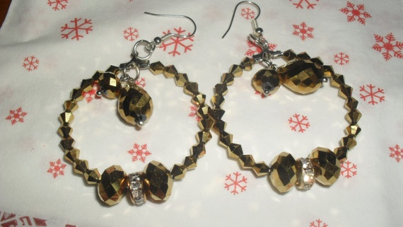 Brown gold hoop earrings by greekfractals on Etsy, €4.00