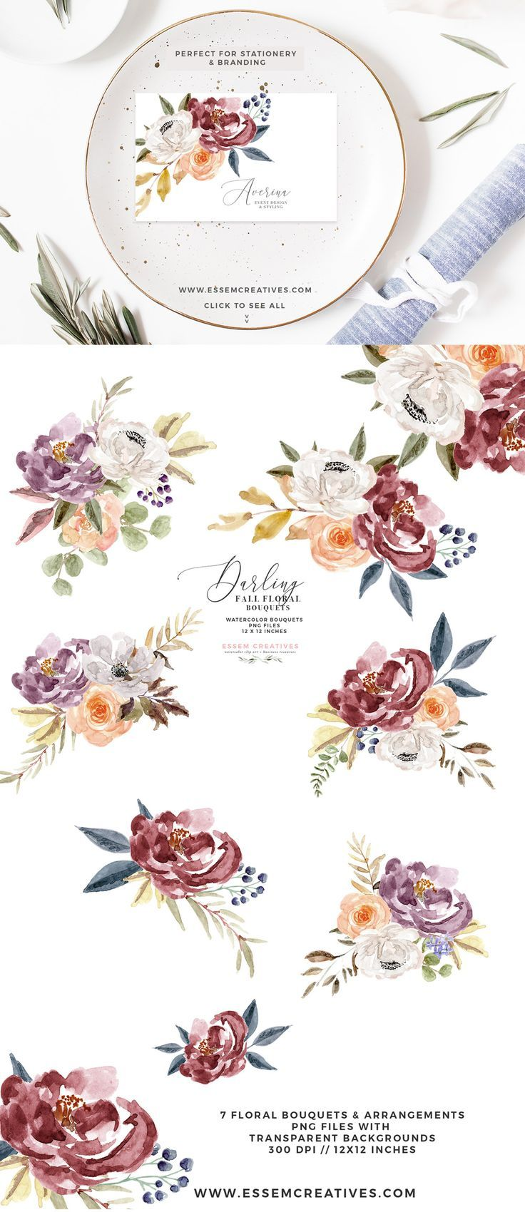 Fall Floral Watercolor Clipart, Burgundy Rose Gold ...