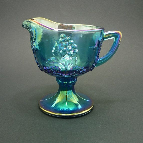 Vintage Iridescent Blue Harvest Carnival Glass Creamer by