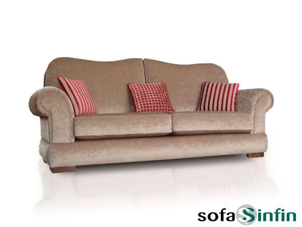 Sofá clásico de 3 y 2 plazas modelo Veluto fabricado por De Paula en Sofassinfin.es