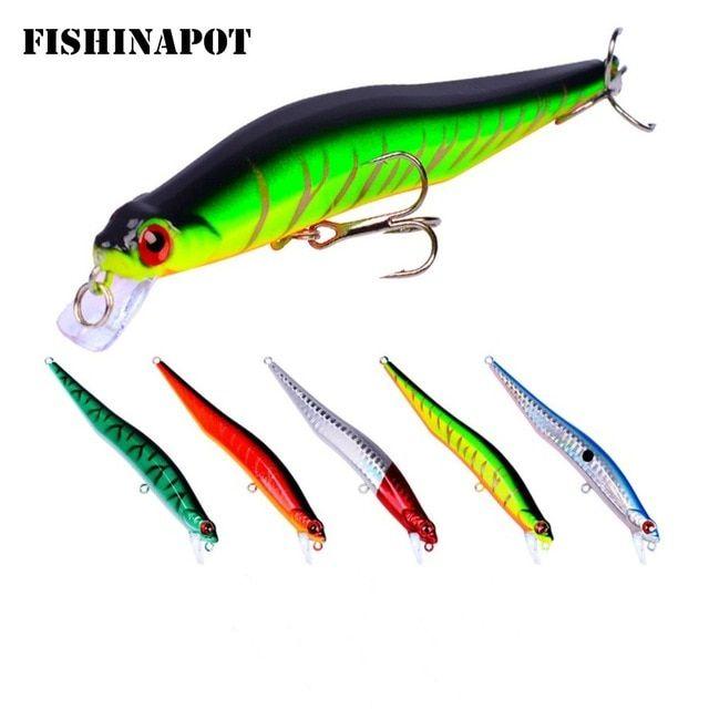 Lot 1pcs Minnow Bass Fishing Lures Wobbler Bass Crank bait Trout Tackle Hooks EN