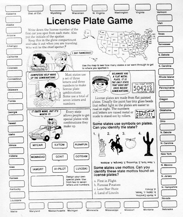 License plate game printout Travel Pinterest License