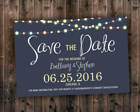 This design is great for outdoor or evening weddings. The glowing lights are a great added touch of elegance. We can customize the background and font colors to suit your style. Cheap, Outdoor, Evening, Lights, Save the Date, Save the Date Cards, Lights Wedding Invitations, Invites,