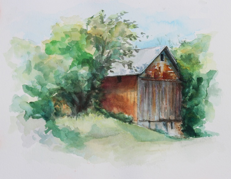 Watercolor art rustic barn