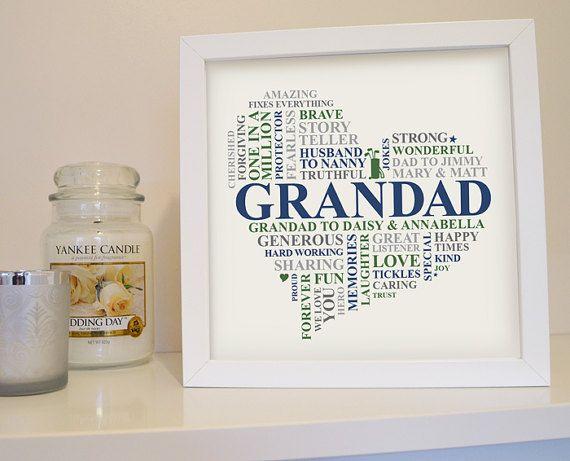 Framed Grandad gift. Personalised Grandpa print. Word art gift for Granddad. Unique grandad present. Gramps Grampy typography