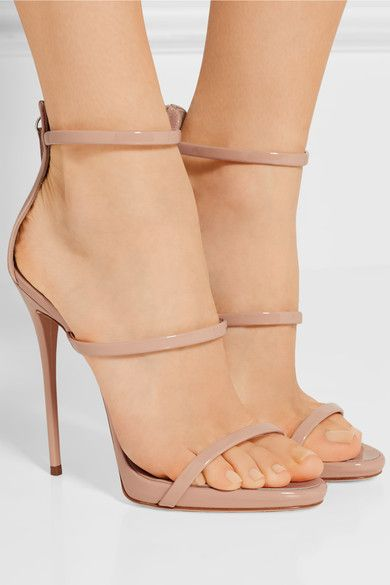Heel measures approximately 120mm/ 5 inches with a 10mm/ 0.5 inches platform Blush patent-leather Zip fastening along back Made in Italy