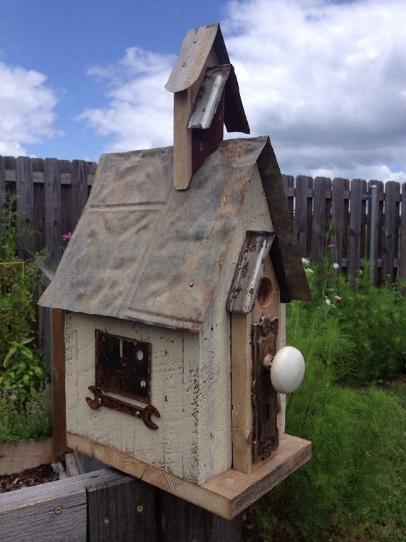 Reclaimed Barnwood Birdhouse With Tin Roof Church