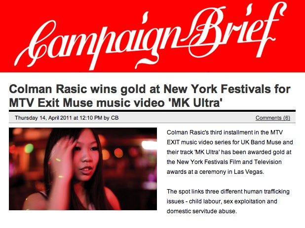 MUSE & MTV EXIT wins gold at New York Festivals.