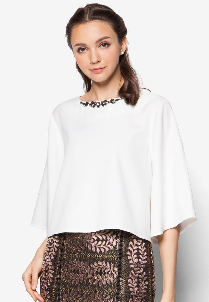 Embellished Wide Sleeve Swing Top from Zalia in white_1