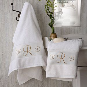 These monogram towels are beautiful - great wedding gift idea!