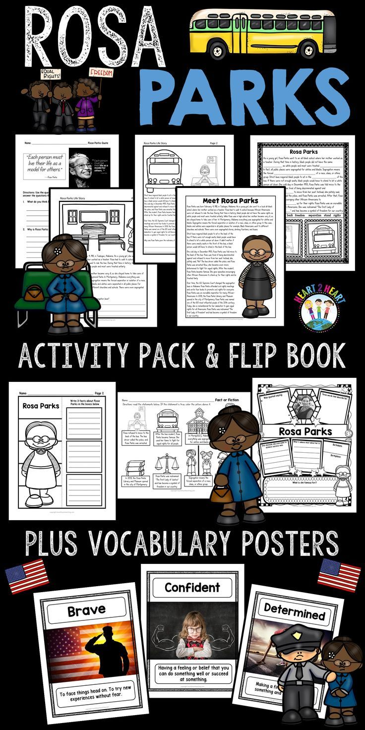 """Your students will love learning about one of the most inspirational African-American women of all time. **This unit has been completely updated with reading passages and activities in 2017!!***  One cold day in December 1955, Rosa Parks was told move to the back of the bus. Rosa was tired of being discriminated against and refused to move from her seat. Instead, she politely said, """"No!"""" The bus driver called the police, and Rosa Parks was arrested."""